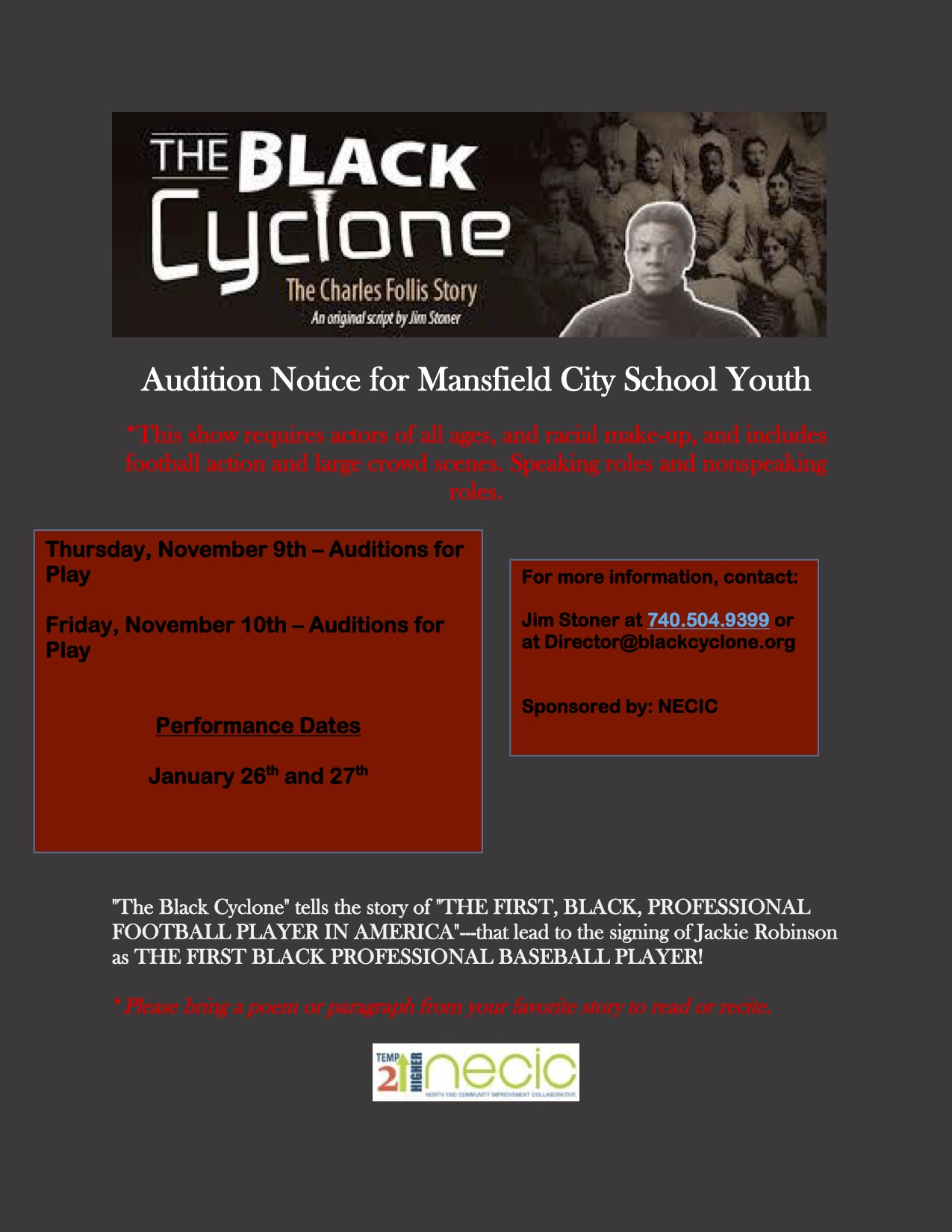Black Cyclone Auditions This Week!