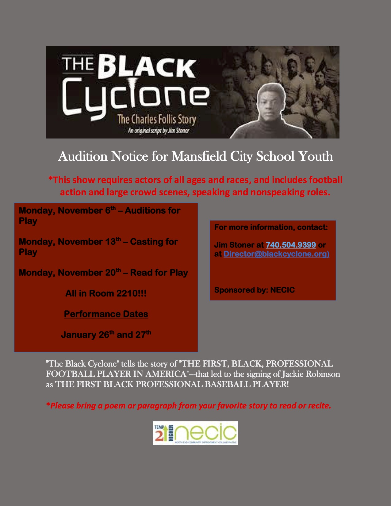 Audition for the Black Cyclone!