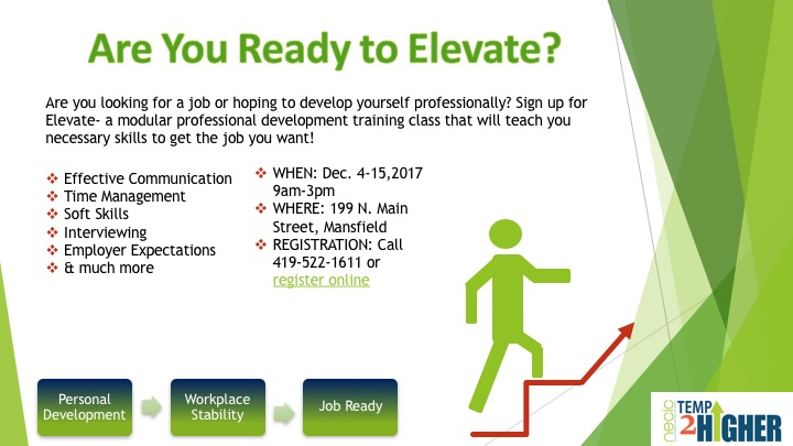 elevate, temp2higher, workforce, temp, mansfield, ohio, north end, necic